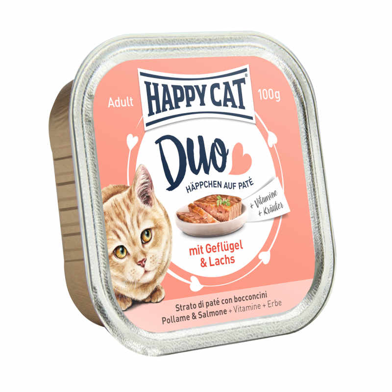 HAPPY CAT DUO Volaille & Saumon 12 x 100g